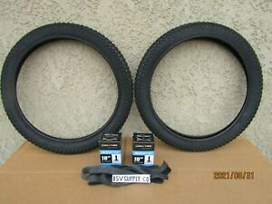 [2] 18'' x 2.125 BLACK BICYCLE TIRES, TUBES & LINERS FOR KID BIKES, GT, DINO