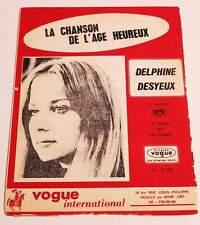 Partition vintage sheet music DELPHINE DESYEUX : Chanson de l'Age Heureux ORTF