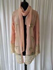 Vintage Lingerie 1930's Silk & French Needle Run Lace Boudoir/Short Peignoir.L