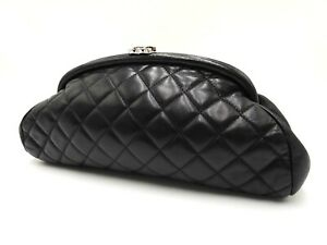 Auth CHANEL CC Matelasse Clutch Second Bag Lambskin Leather Black Silver V-6849