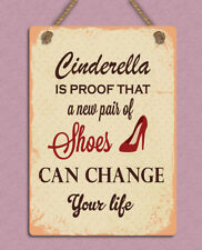 metal hanging sign Retro Cinderella shoes funny quote wall door plaque gift