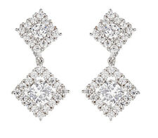 CLIP ON EARRINGS - silver earring Cubic Zirconia crystals & stones - Novia S