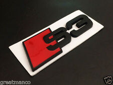 New 3D Metal Alloy Black & Red 2009-15 Audi S3 Emblem Sticker Badge Decal A3 S3