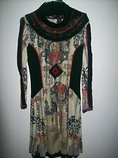 KALI OREA  wool mix  multi-coloured dress with cowl neck I 48 F 44 D 42 UK 16
