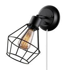 Globe Electric 1-Light Black Shade Plug-in Wall Sconce with Clear 6 ft. Cord