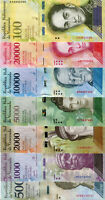 (500 –1000 –2000 –5000 –10000 – 20000 –100000) Venezuela Bolivares 2017 UNC.