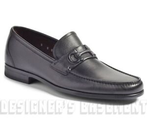SALVATORE FERRAGAMO black 7.5EE FARAONE Double GANCINI loafers shoes NIB Authent