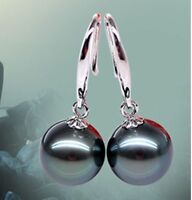 10mm Genuine Black South Sea Shell Pearl Sterling Silver Dangle Earrings AAA