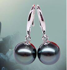 10mm Genuine Black South Sea Shell Pearl Sterling Silver Dangle Earrings AAA