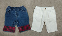 x2 Ralph Lauren/Old Navy Boys Corduroy/Casual/Jeans/Pants-Ivory/Blue-3/6 months