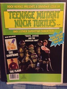 Teenage Mutant Ninja Turtles Poster Magazine With The Simpsons, Batman 1990.