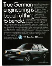 1987 VW VOLKSWAGEN Quantum GL Silver 4-door Sedan VTG PRINT AD