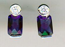 925 Sterling Silver Dark & Clear Sapphire  Small Stud Earrings