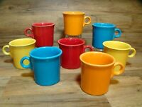 SET OF 8 - FIESTA WARE HLC USA - TOM & JERRY RING - COFFEE MUGS / CUPS