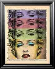 Madonna Original Art Design Upcycled Vintage Dictionary Art Page Wall Print