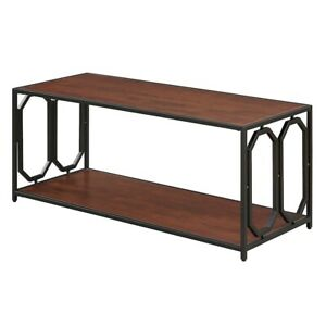Convenience Concepts Omega Metal Coffee Table, Cherry/Black - 166182CH