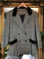 Vintage Black Grey 100% Wool Check Blazer Jacket With Velvet Detail Size Large