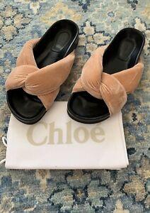 NIB Authentic CHLOE Knotted Beige Rose Velvet Slides Slippers Sandals Sz 37 EU