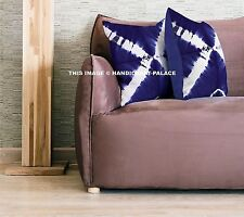 "Tie Dye Shibori Indigo Blue Cushion Cover Cotton Throw Decor Sofa Pillows 16"""