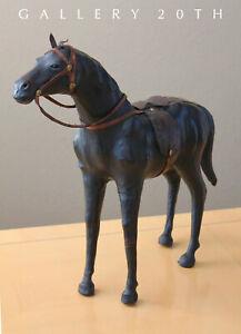 Mittel Jahrhundert Leder Pferd Skulptur! Reiter Sattel 50S Vtg Schwarz Hengst