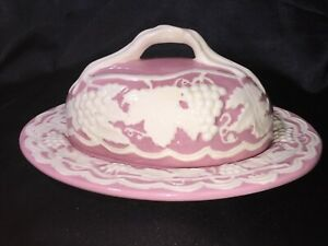 Very Rare Circa 1955 Arnel's Pink With White Grapes Ceramic Butter Dish