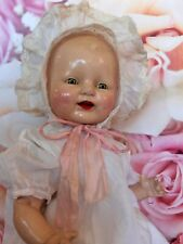 "Antique Horsman ""Baby Dimples"" Doll w/ Extra Dress & Booties. 16"""