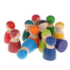 12 x Painted Rainbow Wooden Peg Dolls Kids Pretend Play Montessori Learning Toy