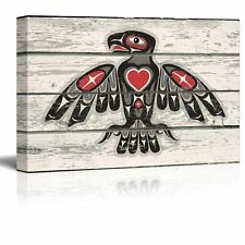 Red and Black Native American Indian Totem Bird Art - Rustic Canvas Art - 16x24