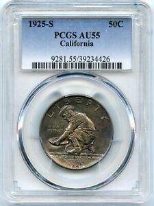 1925-S California Commemorative 50c Half Dollar | PCGS AU55 | Light Blue Toning