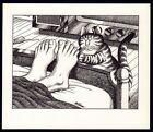 B Kliban Cats TOE TICKLING CAT vintage funny cat art print