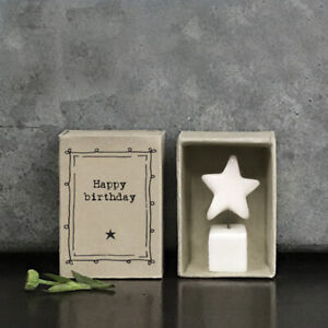 East of India Vintage Style Matchbox Standing Star - 'Happy Birthday'