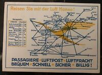 1926 Karlsruhe Germany Airmail Postcard Cover To Chemnitz Lufthansa Air routes