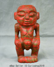 """7.6"""" Old China Hongshan Culture Red Turquoise Carved Man phallus penis Statue"""