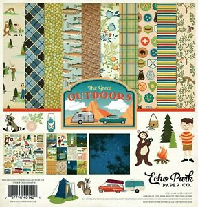 Outdoors Fishing Camping Canoe Hiking Woods Echo Park Scrapbook Page Kit 12 x 12