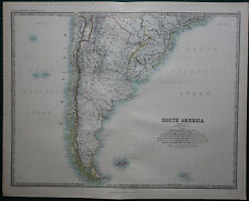 1887 LARGE VICTORIAN MAP ~ SOUTH AMERICA SOUTHERN SHEET ARGENTINE REPUBLIC CHILE