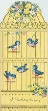 VINTAGE YELLOW ROSES GARDEN FLOWERS BLUEBIRDS PET BIRD CAGE BIRTHDAY CARD PRINT
