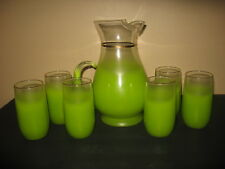 Vintage Virgina Glass Blendo Lime Green Frosted Pitcher and 6 Tumblers