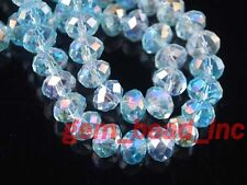 Bulk 100Ps Aque Blue AB Crystal Glass Faceted Rondelle Bead 6mm Spacer Findings