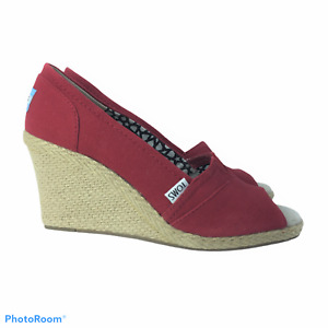TOMS 8.5W Wedge Espadrille Red NEW