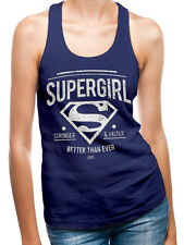 Licensed DC Supergirl Fitted Navy Cotton Vest Sleeveless Blouse