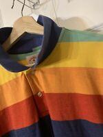 Brooks Brothers Mens Sz XL Red Fleece Multi Color toned Stripe Cotton Polo Shirt