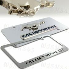 Ford Mustang GT 3D Stainless Steel License Plate Frame w/ cap -2PCS Front & Back