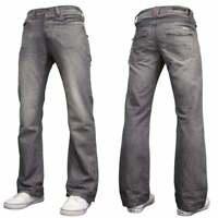 New Mens Designer Basic Bootcut Flared Wide Leg Grey Denim Jeans All Waist Sizes