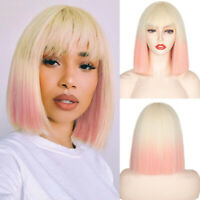 Fashion Women's Synthetic Wig Ombre Blonde Pink Short Straight Bob Wigs Bangs