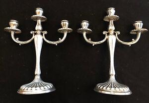 Pair of German 800 Silver Three Light Candelabra