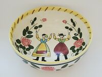 """Vintage Faience Bowl 9 3/4"""" Hand Painted French Farmers Peasants Multicolor"""