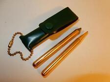 Vintage MINI BRASS PEN PENCIL SET IN LEATHER CASE CHAIN MINIATURE