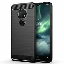 Para Nokia 7.2 caso cubierta ultra delgada de gel de fibra de carbono a prueba de choques