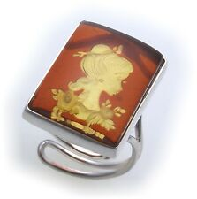 Ring real amber engraved Woman Genuine Silver Handmade Unique Girls