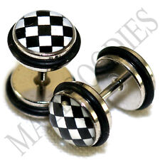 16G Black & White Checkered 0G 8mm 0159 Fake Cheaters Faux Illusion Ear Plugs